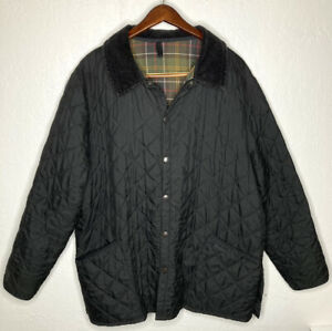 BARBOUR-Liddesdale-Black-Quilted-Snap-Jacket-Lined-Made-In-England-Mens-Sz-XXL
