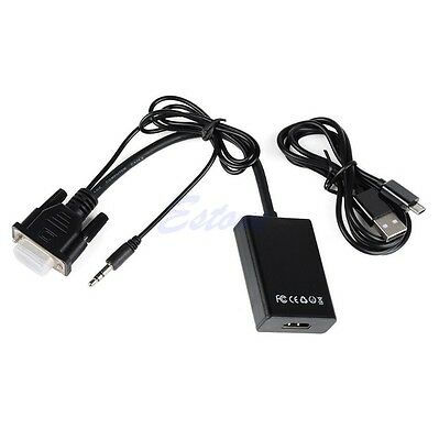 VGA Male To HDMI Output 1080P HD +Audio AV TV HDTV Video Cable Adapter Converter