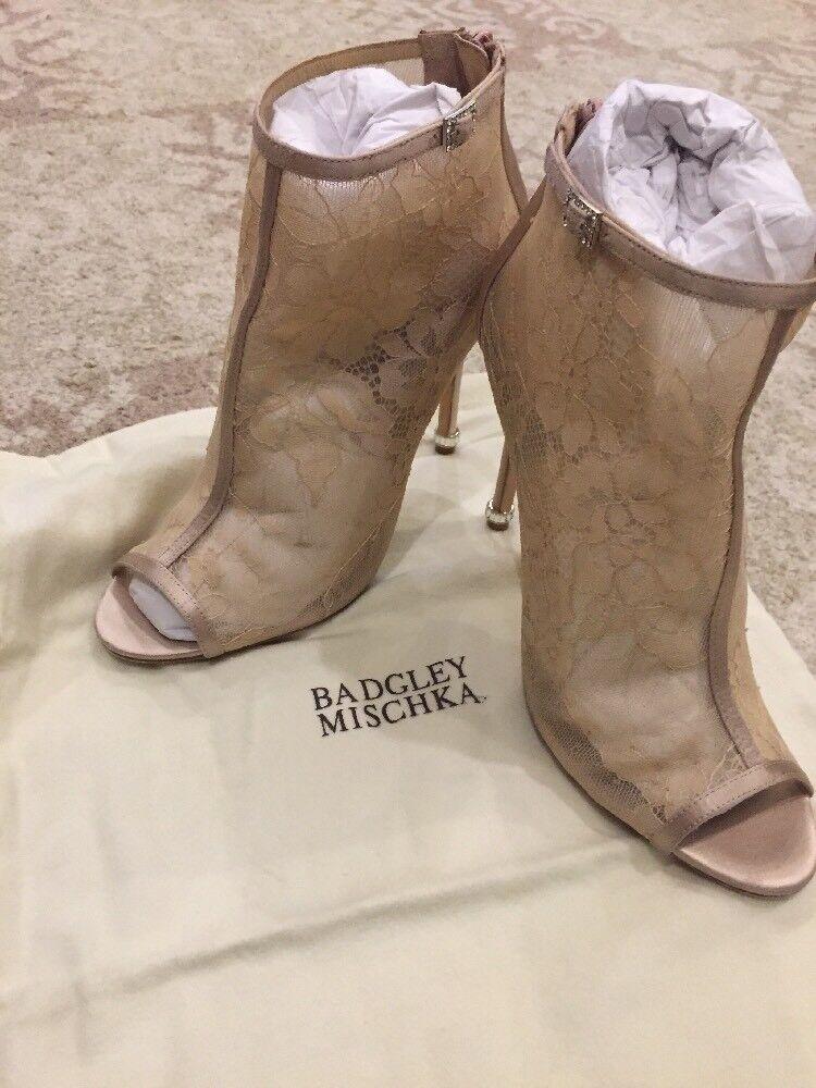 Badgley Mischka Lace Booties, Glowing, Latte, 3 3/4