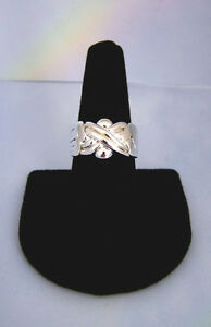6-Band-Traditional-Turkish-Puzzle-Ring-Grooved-X-Design-Silver-Plated