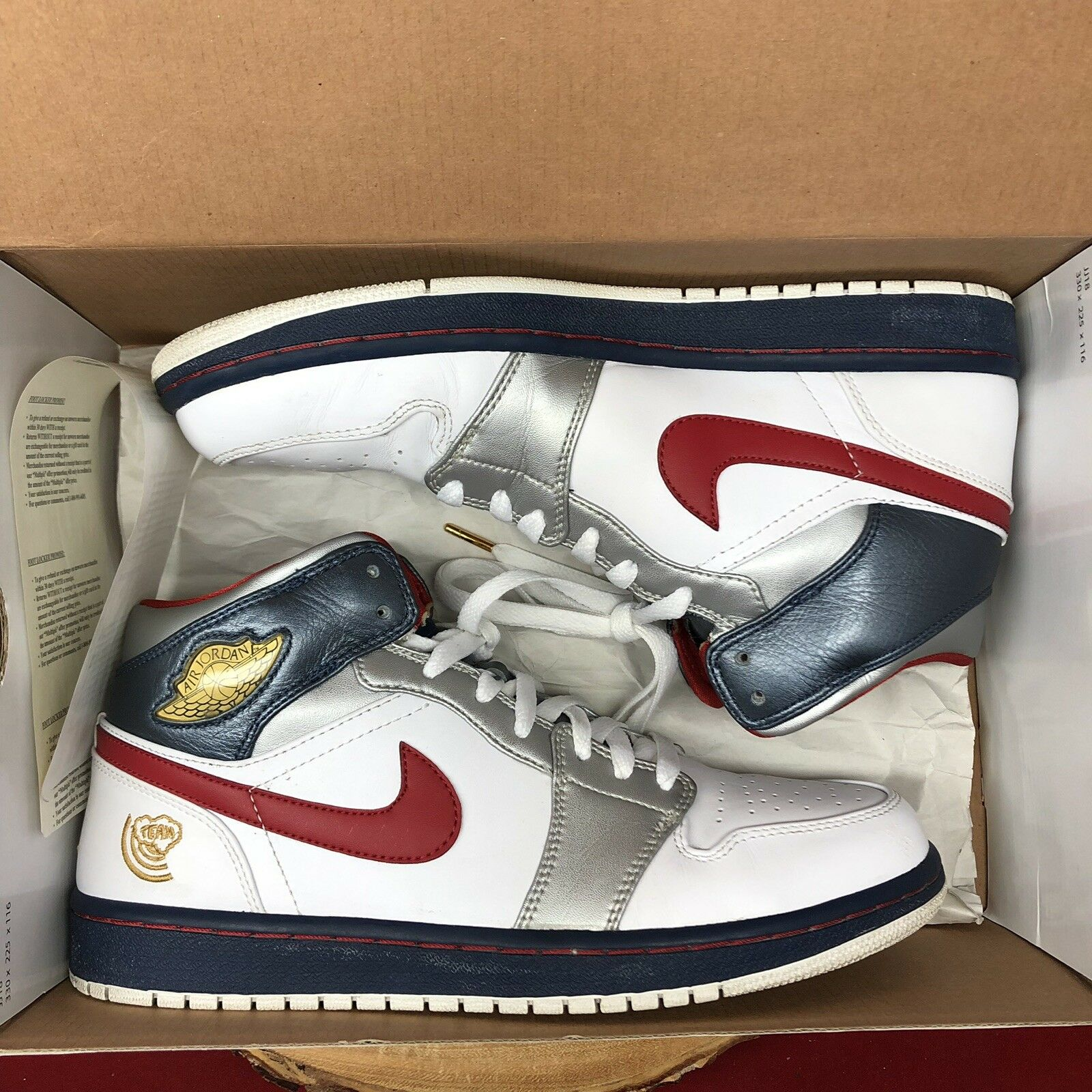 Nike Air Jordan 1 I Retro 'Olympic' USA Red White bluee 136085 161 Size 10.5