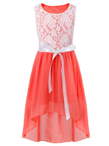 Chiffon Lace Kid Party Dress Flower Girl Princess for Bridesmaid Wedding Pageant