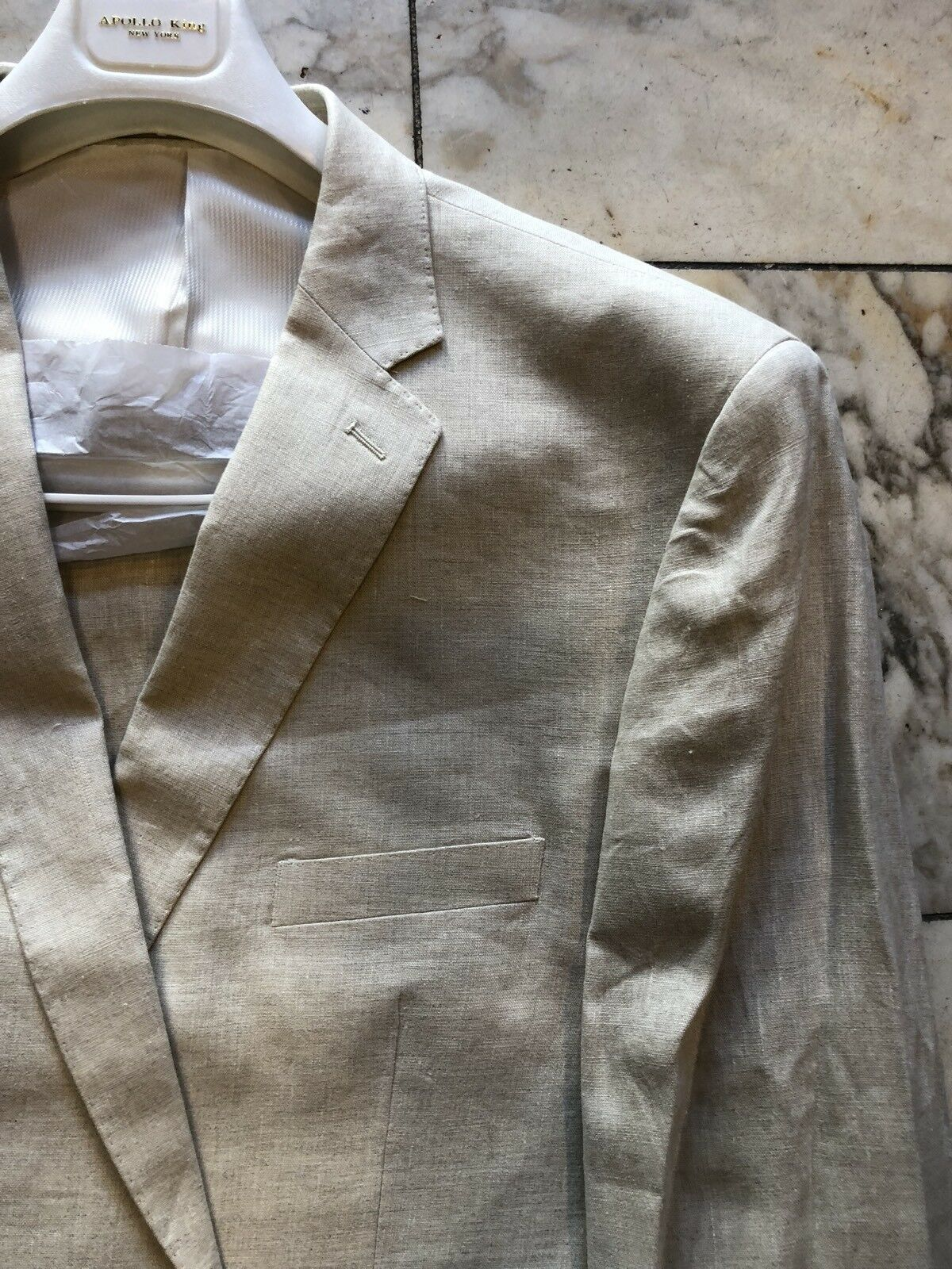 NWT APOLLO KING Classic Fit Men's 100% Linen Suit Lined Tan color 2BT Size 46R