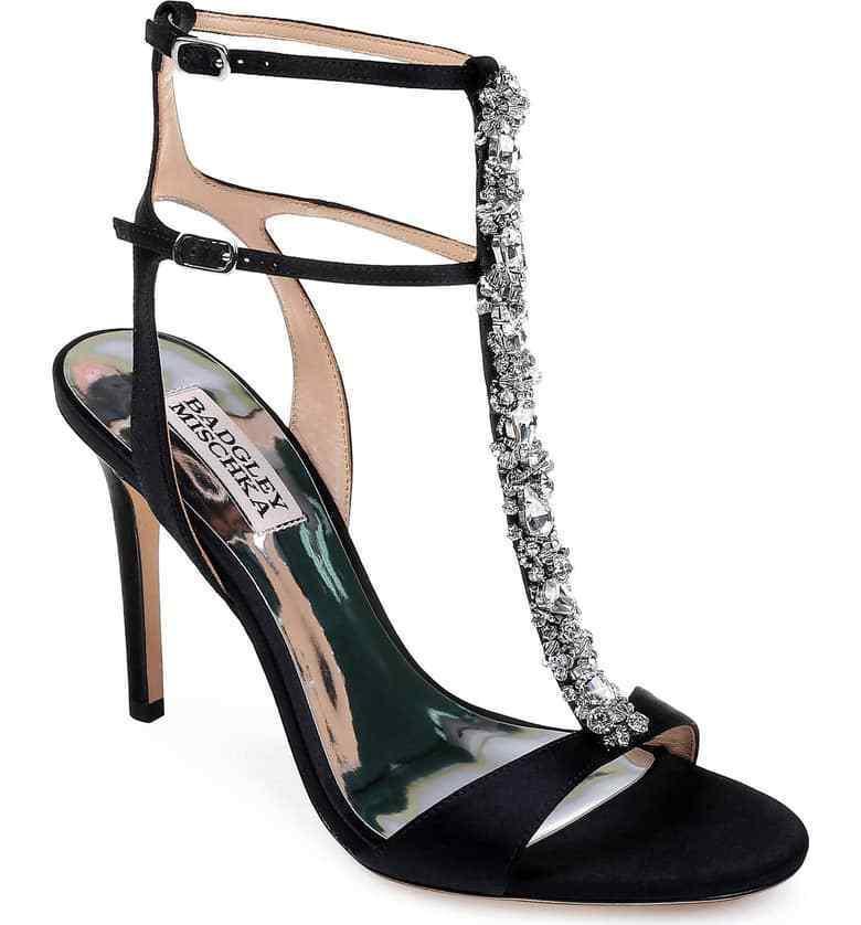 Badgley Mischka Women's Hollow T-Strap Embellished Embellished Embellished Sandal Size 8 Black MSRP  245 e66eda