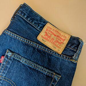 Vintage-Levi-501-Jeans-blau-Straight-Button-Fly-unisex-Patchw-34l36-W-33-L-35
