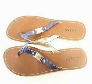 Guess-21197-Flip-Flop-Sandals-Navy-Blue-amp-Gold-W-Rhinestones-Tan-Soles-9-10-US