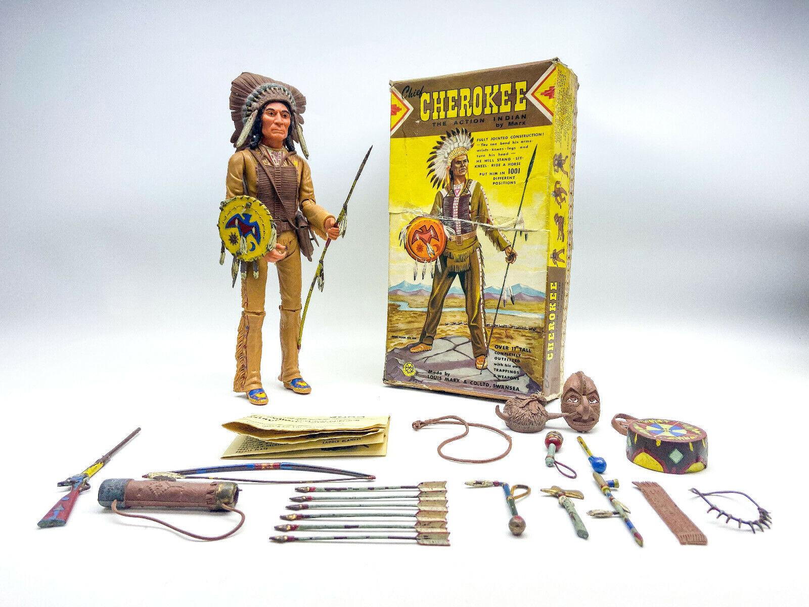 Marx capo Cherokee UK scatola e azione cifra Versione 1960s QUASI COMPLETO