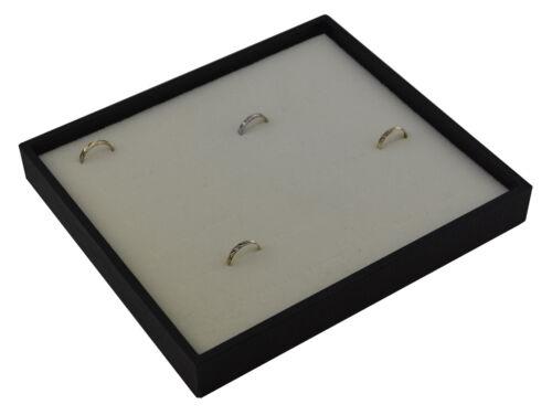 Negro anillo pantalla bandeja de textura de madera con almohadilla de terciopelo blanco para sostener 36 Anillos