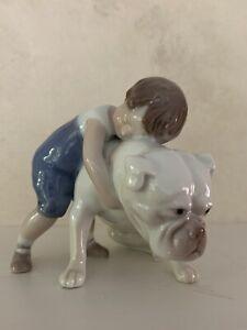 B & G Bing & Grondahl Porcelain Figurine Boy with Bulldog 1790