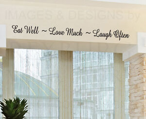 Wall-Decal-Quote-Sticker-Vinyl-Lettering-Eat-Well-Love-and-Laugh-Kitchen-KI27