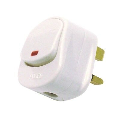 Switch On//Off 13A Amp Fused Switched Neon Light White 4x Ex-Pro Mains Plug Top
