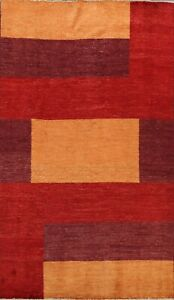 Modern Geometric Gabbeh Oriental Wool Area Rug Hand-knotted Foyer Carpet 5x8 New