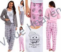 3 PIECE Ladies Hooded Pyjamas MicroFleece Jacket Jersey OWL T-Shirt Cotton Pants