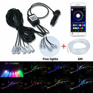 6M-RGB-LED-Car-Interior-Fiber-Optic-Neon-EL-Wire-Strip-Atmosphere-Light-Kit-APP