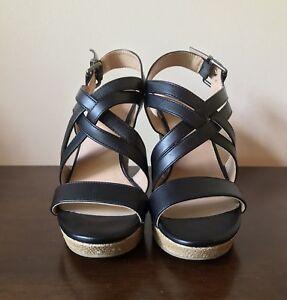 XAppeal-Black-Strappy-Wedge-Espadrille-4-Heel-Height-Sandals-Women-s-Size-7