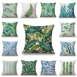 New-Floral-Tropical-Plant-leaves-Pillow-Case-Cotton-Linen-Cushion-Cover