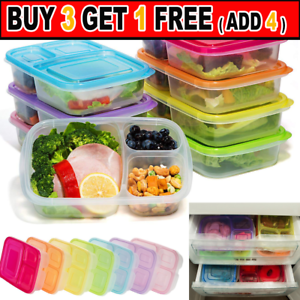 Plastic Lunch Box Food Container Set Bento Lunch Boxes With 3-Compartment JS