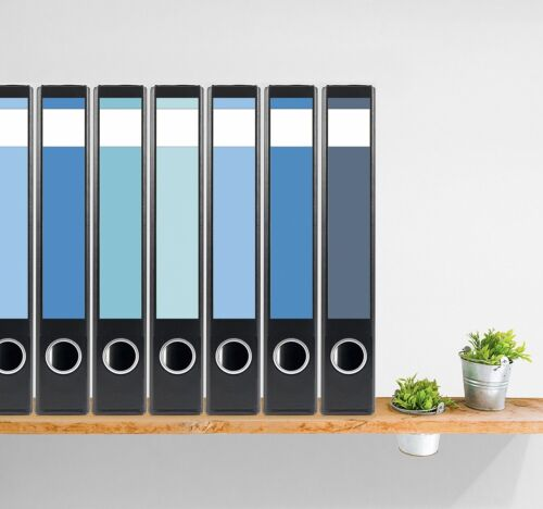 Ordnerrücken 7 Etiketten selbstklebend schmal kurz Mehrfarbig blau