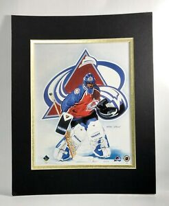 Colorado Avalanche Hockey 1995 Goalie MATTED 11X14 Lithograph by Kelly Russell