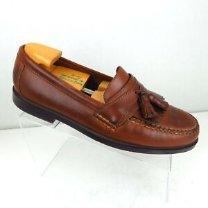8968619204a Earth Shoe Mens Size 9.5 W Loafers Kiltie Tassel Brown Leather