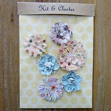 6 x shabby chic paper flower topper embellishments card making, blue & polka dot