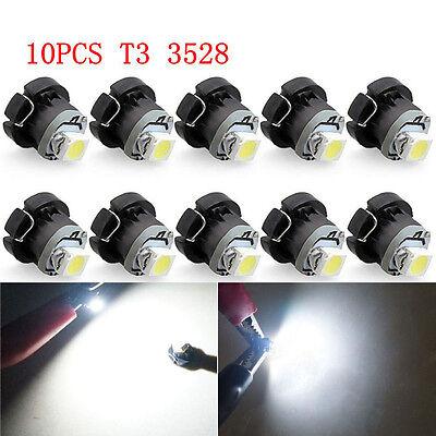 10X T3 LED 0.2W 3528 6500K 12V Car Wedge Side 1SMD Light Super Bright Lamp Bulbs