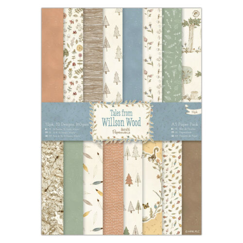 Papermania A5 paper 32 sheet pack TALES FROM WILLSON WOOD woodland trees leaves