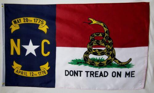 North Carolina Don/'t Tread On Me Flag 3/' x 5/' Gun Rights 2nd Amendment Banner