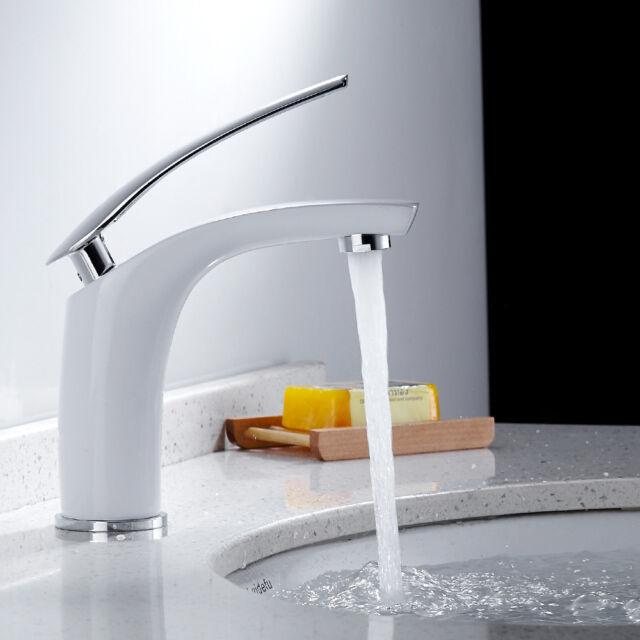 Chrom Weiß Badarmatur Wasserhahn Einhebelmischer Waschtisch Armatur Waschbecken