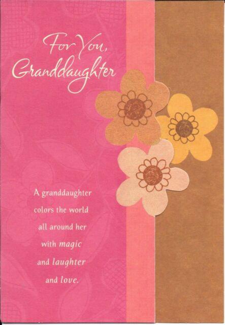 Happy Birthday Granddaughter Gold Flowers Mahogany Hallmark Card