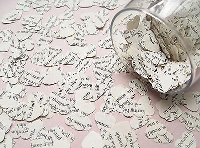 1000 Novel Book Heart Confetti - 26 Book Choices - Wedding Table Decor Hearts