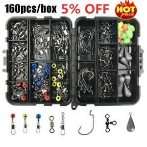 160pcs-Fishing-Accessories-KitJig-Hooks-Sinker-weights-Swivels-Snaps-tackle-box