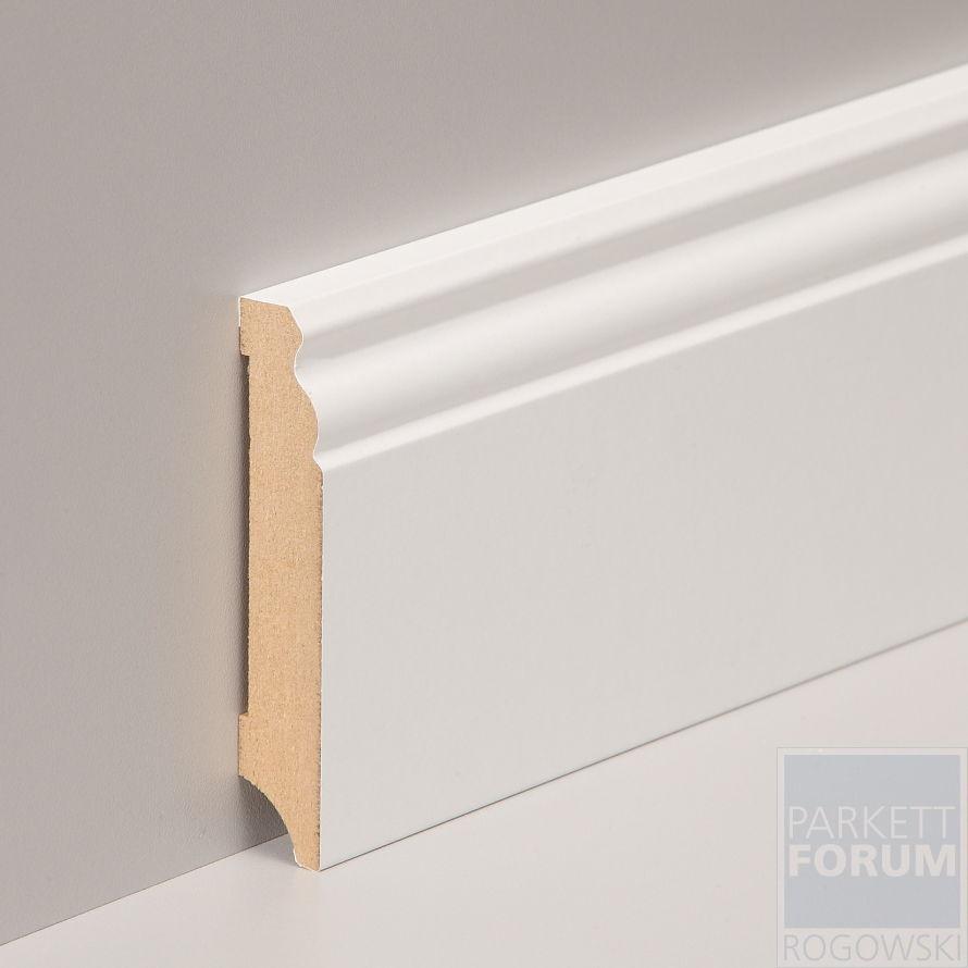 (  m) 12,5 Meter - 100 mm Fußleiste Cube Berliner Profil MDF weiß foliert