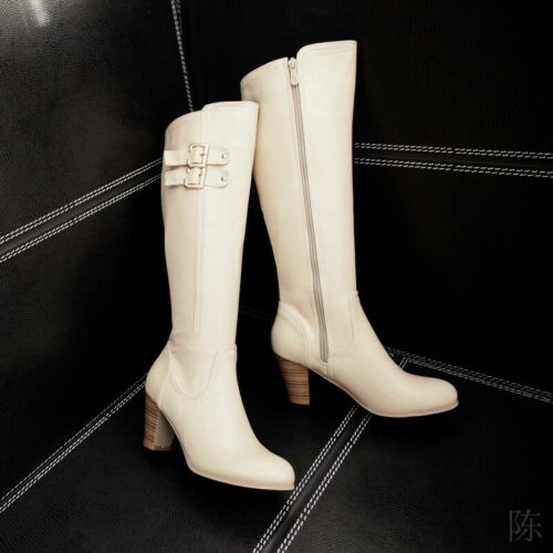 Retro Knee High Thigh Boots Round Toe High Heel Women/'s Knight Shoes Size 34-48