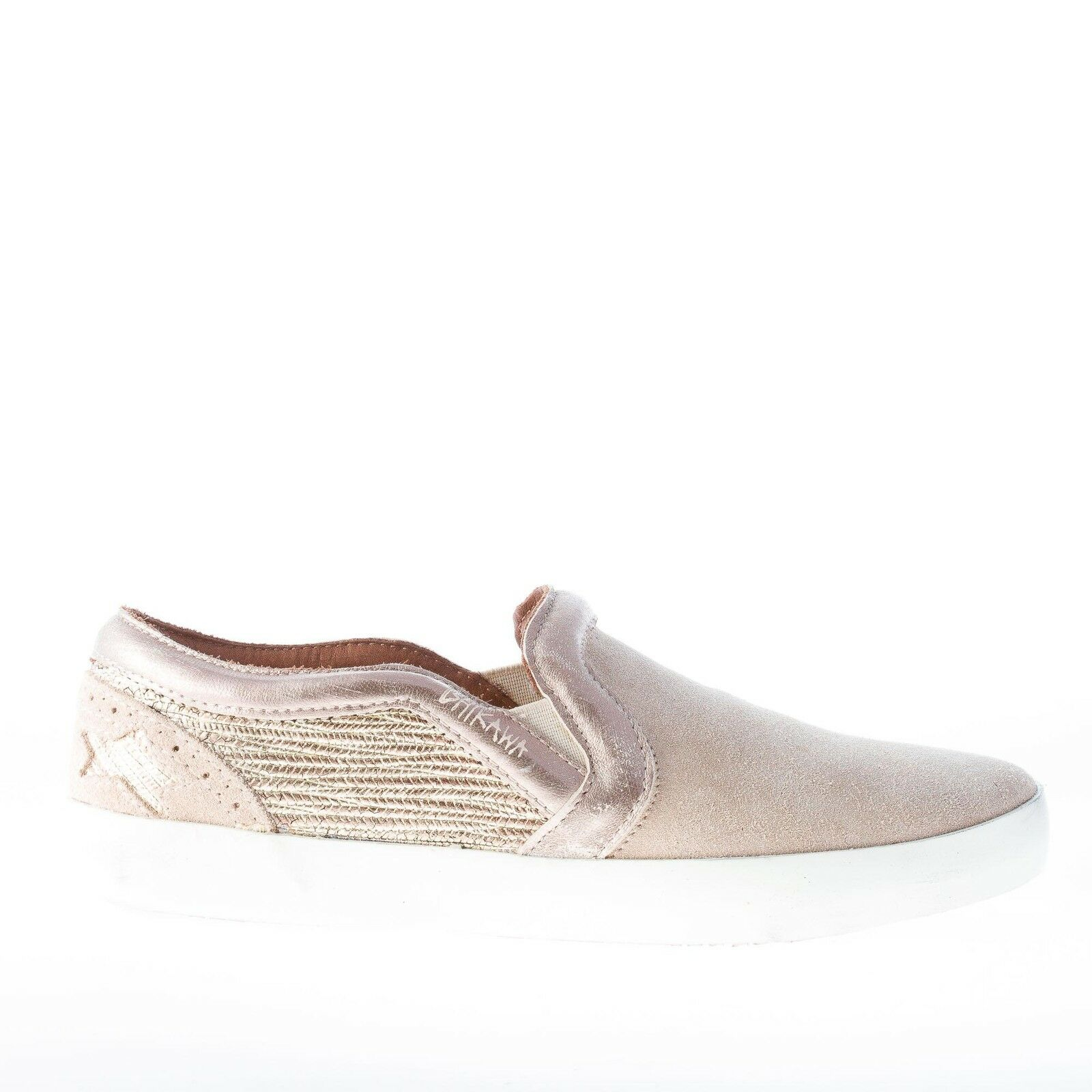 ISHIKAWA women shoes beige suede slip on with gold tone leather details