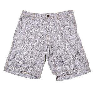 Tasso-Elba-Mens-Shorts-Flat-Front-Casual-White-Beige-Pattern-Cotton-Linen-Nwt
