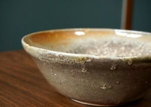 Studio-Pottery-Bowl-Lava-Glaze-Vintage-Ceramics-Handmade-Orange-MCM-Crackle