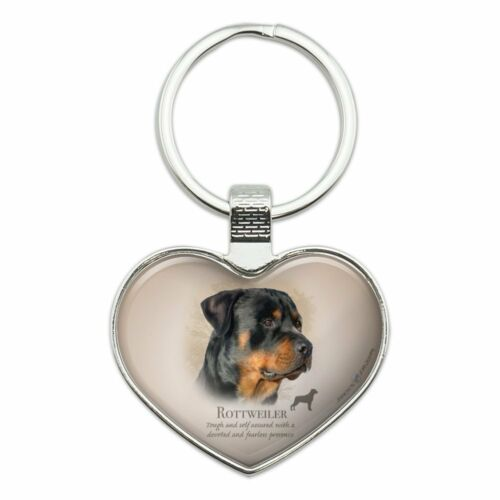 Rottweiler Rottie Dog Breed Heart Love Metal Keychain Key Chain Ring