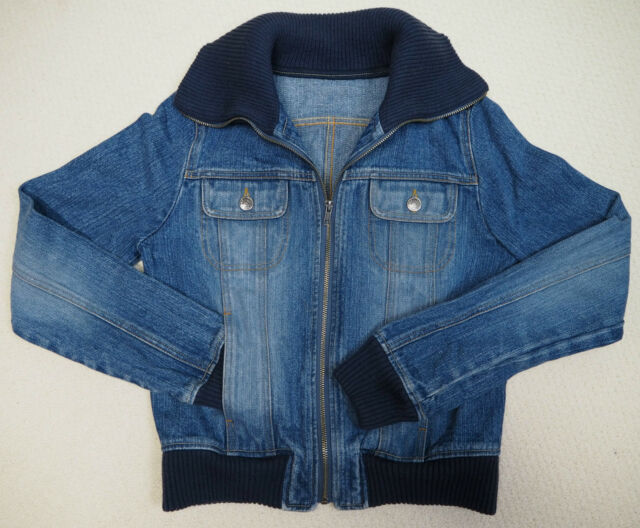 Vintage Retro Blue Denim Jeans Bomber Jacket Blazer Coat UK 8 US 2 EU 34 XS