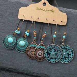 3Pairs-Retro-Gypsy-Tribal-Ethnic-Earrings-Set-Drop-Dangle-Festival-Women-Jewelry