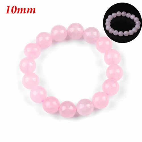 AAA naturel rond rose Quartz Jade pierres précieuse extensible bracelet cadeau A
