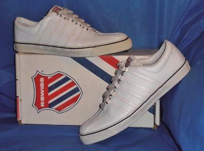 K-Swiss White Leather Boat Shoe