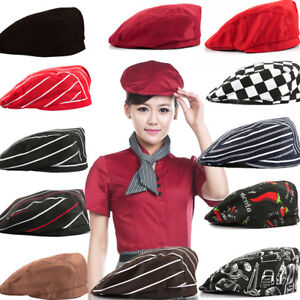 BL-Unisex-Striped-Grid-Cap-Professional-Kitchen-Catering-Waiter-Cook-Chef-Hat-G