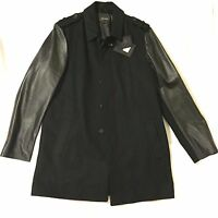 Mackage Nathaniel Wool Leather Black Car Coat Made In Canada 44 Large