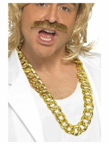Chunky Gold Chain with Game Show Host Wig and Tash Set Fancy Dress Pimp Gangster