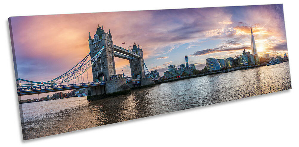 Sunset London Cityscape Picture PANORAMA CANVAS WALL ART Print