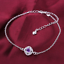 miniature 49 - 925 Sterling Silver Plated Anklet Ankle Bracelet Crystal Foot Chain Ladies CZ UK