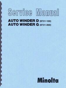 Minolta Auto Winder D and G Service & Repair Manual Reprint