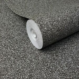 Charcoal-Gray-Black-Faux-Mica-Vermiculite-stone-textures-wallpaper-roll-Textured
