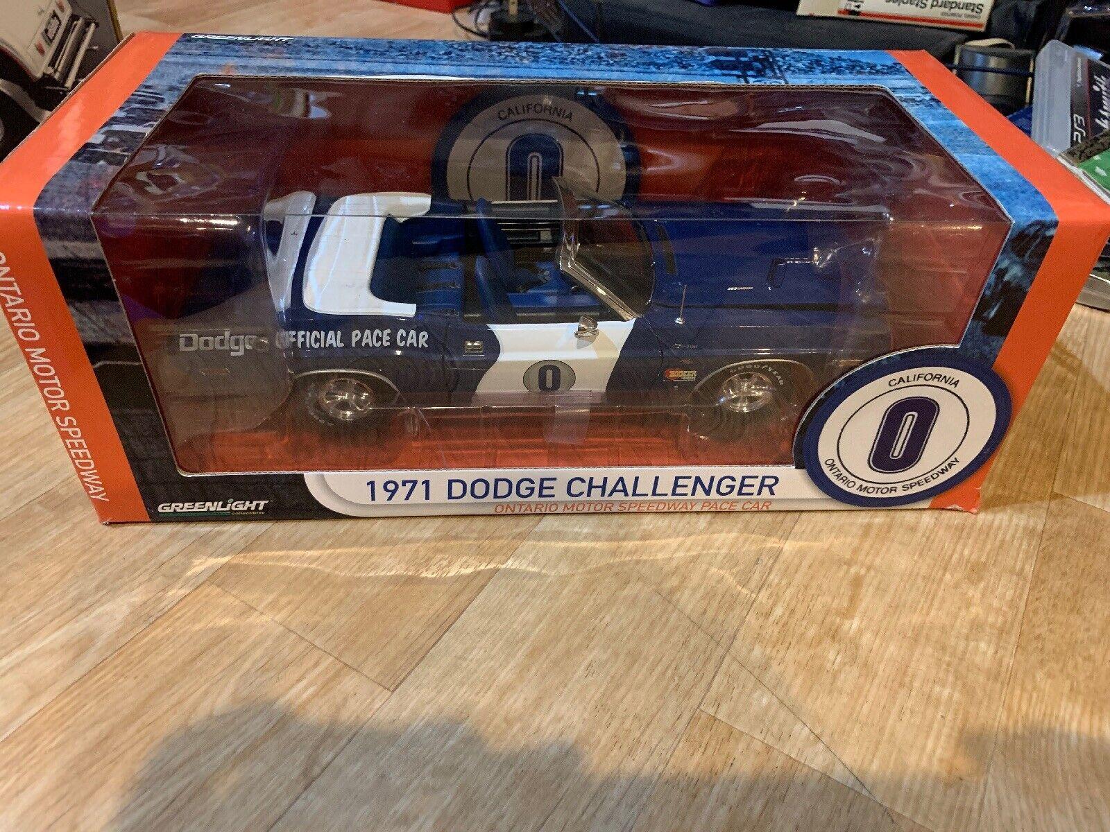 1 18 Greenlight 1971 Dodge Challenger Ontario Motor Speedway Pace Car 12871